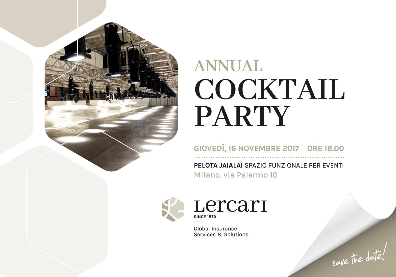 COCKTAIL PARTY GRUPPO LERCARI, GIOVEDI' 16 NOVEMBRE 2017 – LA PELOTA, MILANO